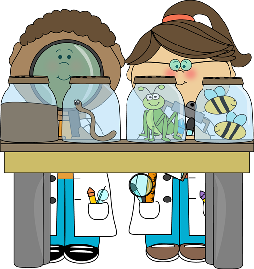 Boy and Girl Examining Jars- Science