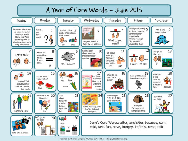 PrAACtically June: AAC Resources for A Year of Core Words
